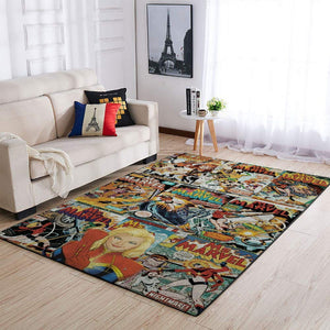Ms. Marvel - Captain Marvel Area Rugs, Marvel Superhero Movie Living Room Carpet, Custom Floor Decor