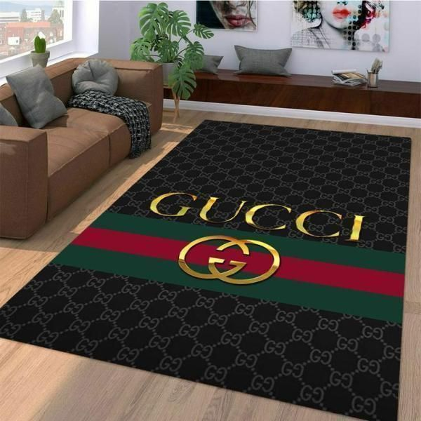Gold Gucci Area Rug, Dark Hypebeast Carpet, Luxurious Fashion Brand Logo Living Room  Rugs, Floor Decor 071113