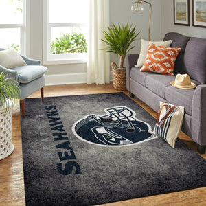 Seattle Seahawks Area Rugs Logo Helmet Distressed NFL Football Living Room Carpet Team Logo Custom Floor Home Decor SS1