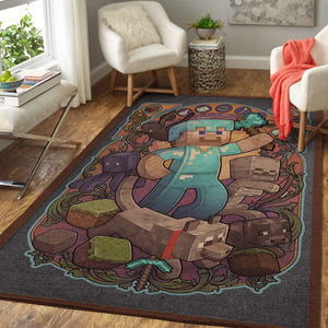 Minecraft Area Rug Video Game Carpet, Gamer Living Room Rugs, Floor Decor M25107