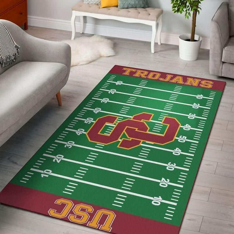 USC Trojans Home Field Area Rug, Football Team Logo Carpet, Living Room Rugs Floor Decor F102113