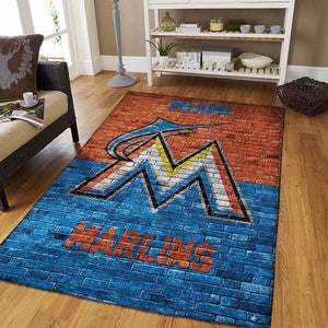 Miami Marlins Area Rug, MLB Baseball Team Logo Carpet, Living Room Rugs Floor Decor 2004043