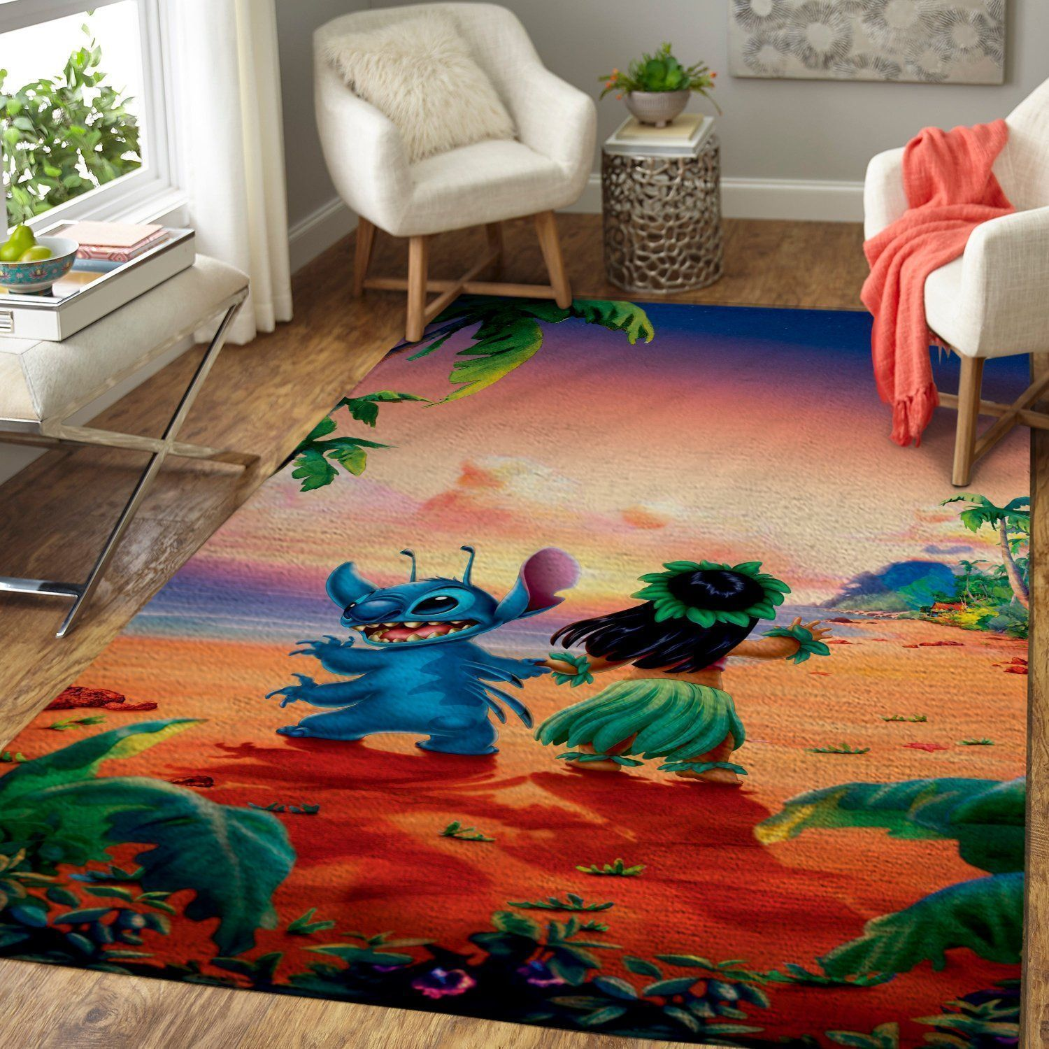 Lilo & Stitch Area Rugs / Disney Movie Living Room Carpet, Custom Floor Decor 04113