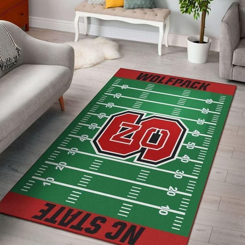 NC State Wolfpack Home Field Area Rug, Football Team Logo Carpet, Living Room Rugs Floor Decor F102126