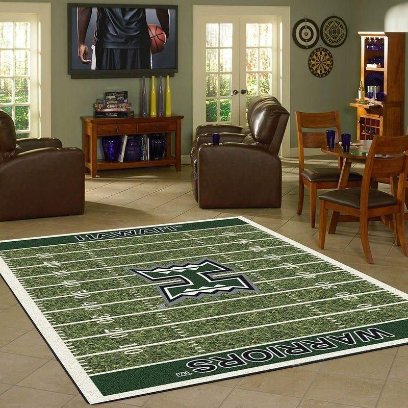 Hawaii Rainbow Warriors Home Field Area Rug, Football Team Logo Carpet, Living Room Rugs Floor Decor F102144