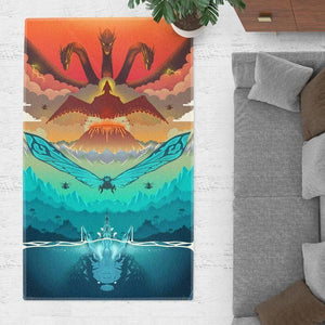 Godzilla Area Rugs - King of the Monsters Movie Living Room Carpet, Custom Floor Decor G