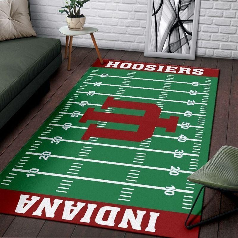 Indiana Hoosiers Home Field Area Rug, Football Team Logo Carpet, Living Room Rugs Floor Decor F10215