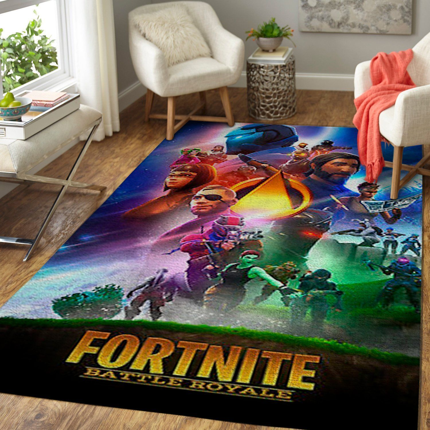Fortnite Area Rug Video Game Carpet, Gamer Living Room Rugs, Floor Decor 1910184