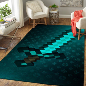Minecraft Area Rug Video Game Carpet, Gamer Living Room Rugs, Floor Decor M30109