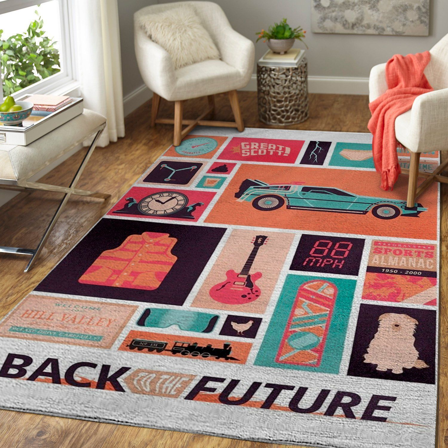 Back to the Future Area Rugs, Movie Living Room Carpet, Custom Floor Decor 1