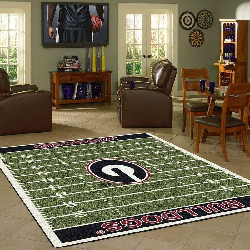 Georgia Bulldogs Home Field Area Rug, Football Team Logo Carpet, Living Room Rugs Floor Decor F102145