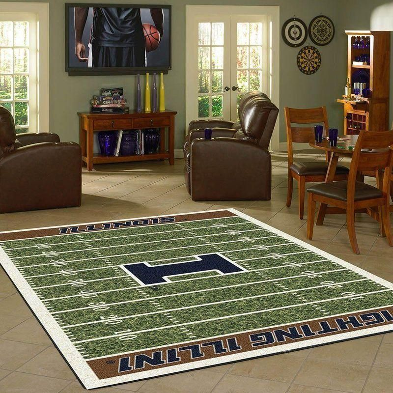 Illinois Fighting Illini Home Field Area Rug, Football Team Logo Carpet, Living Room Rugs Floor Decor F102170