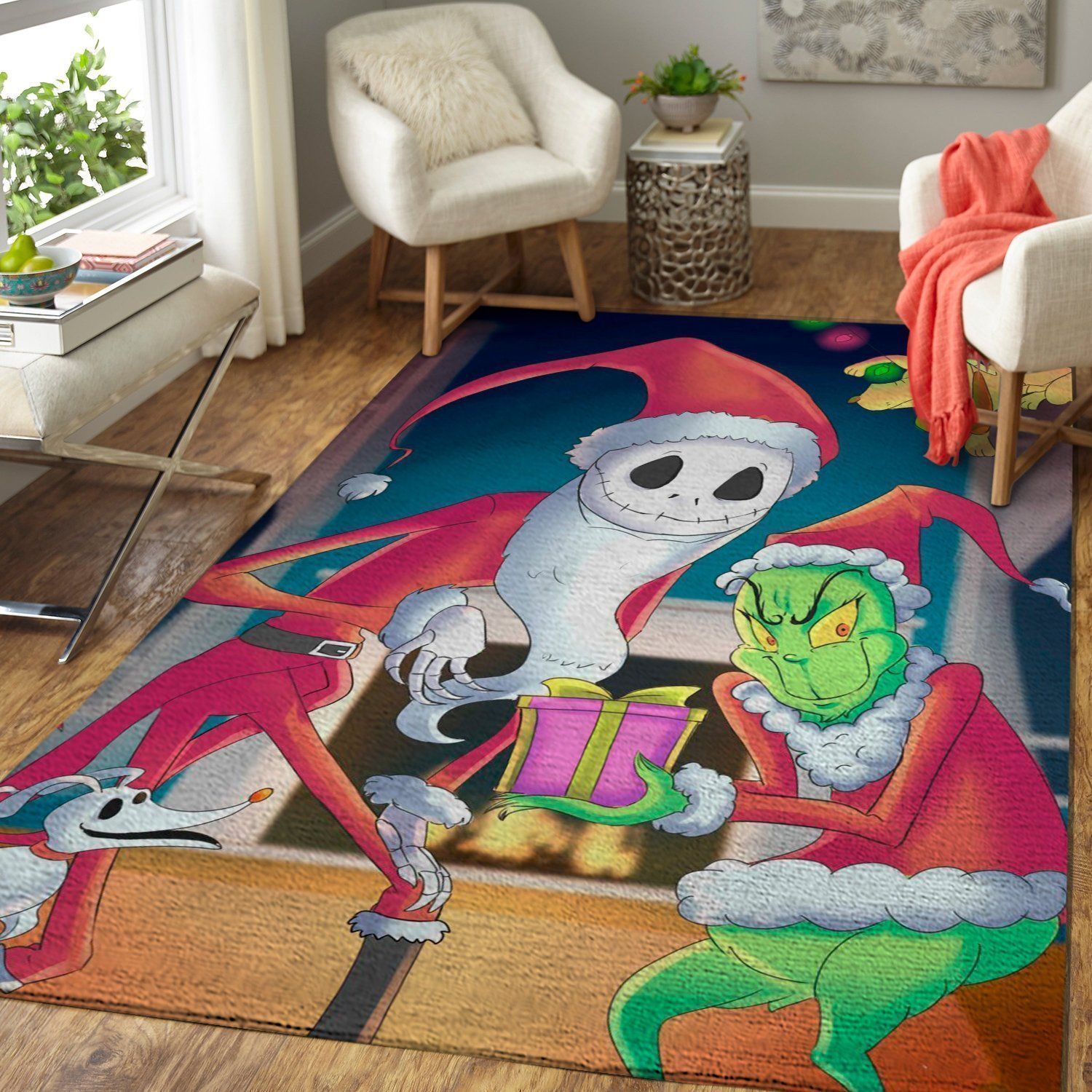 Jack Skellington & Grinch Area Rugs, Christmas Movie Living Room Carpet, Custom Floor Decor 0711