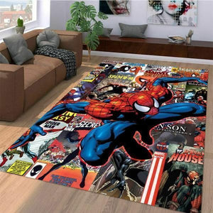 Marvel Superhero Spiderman Comic Area Rugs, Movie Living Room Carpet, Custom Floor Decor 3110194
