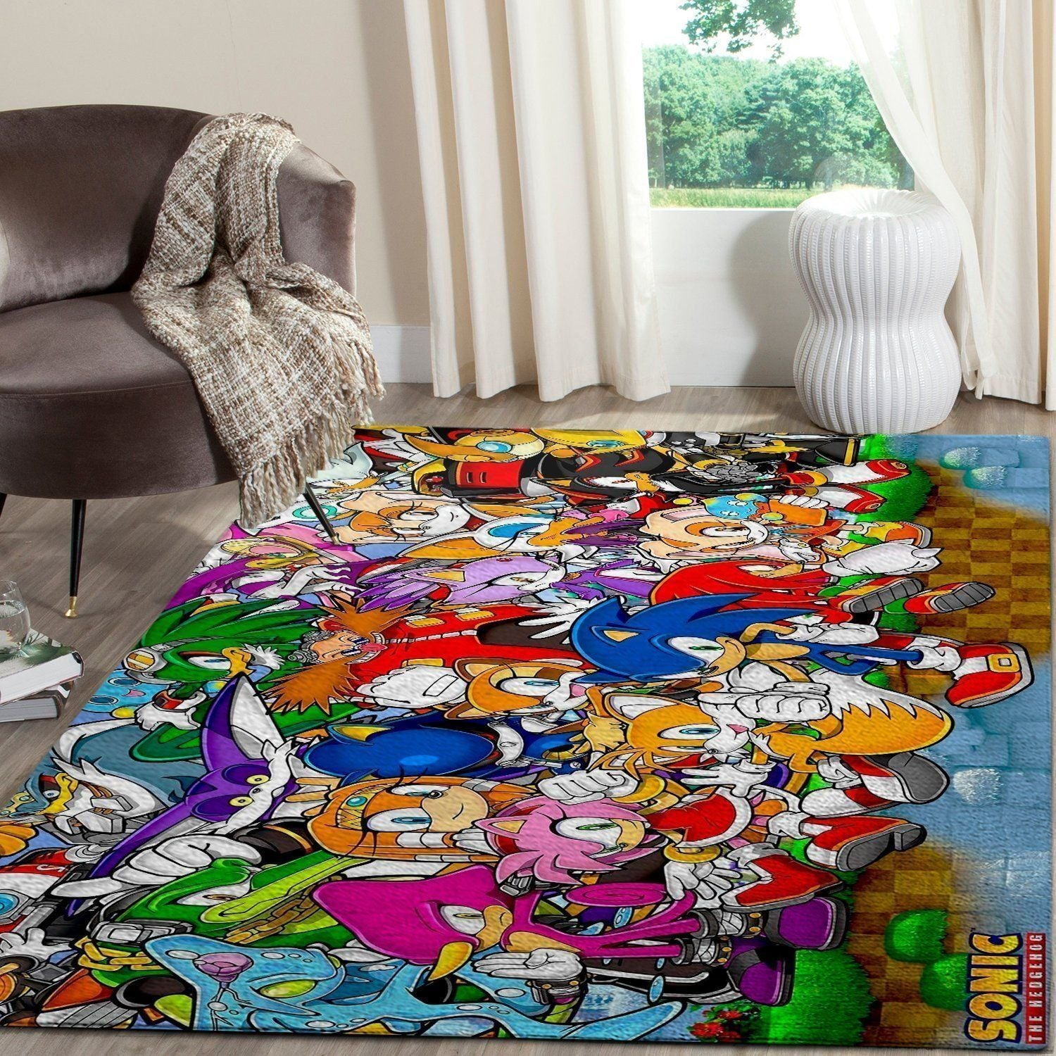 Sonic the Hedgehog Area Rug / Gaming Carpet, Gamer Living Room Rugs, Floor Decor - Characters 10111