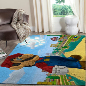 Minecraft Area Rug Video Game Carpet, Gamer Living Room Rugs, Floor Decor 1011