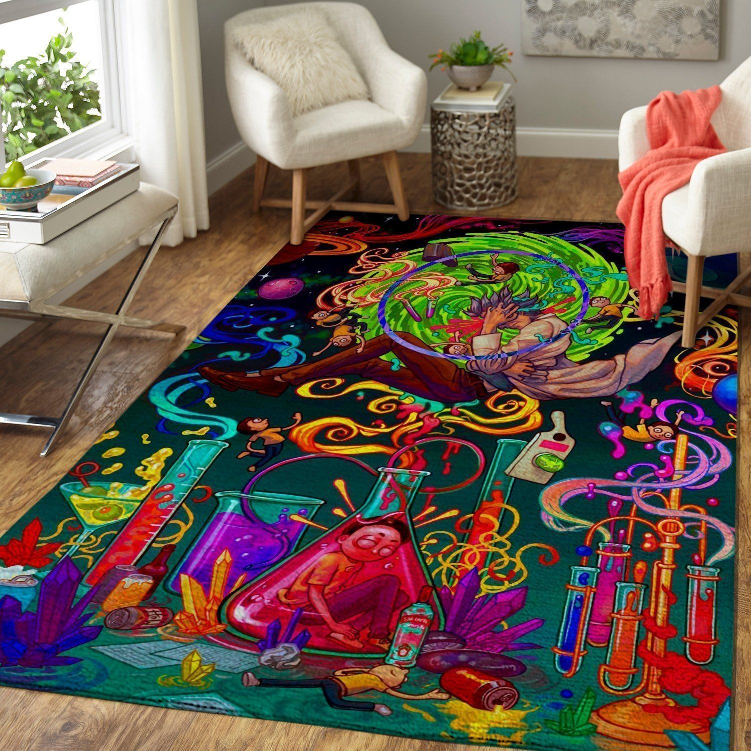 Rick & Morty Area Rugs, Chaos Colorful Movie Living Room Carpet, Custom Floor Decor 2