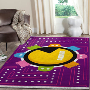 Pacman Area Rug Video Game Carpet, Gamer Living Room Rugs, Floor Decor 101115