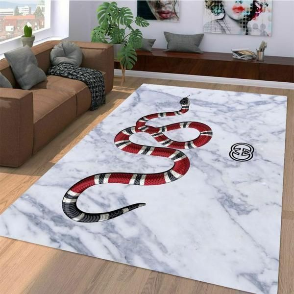 Gucci Area Rug, Red Snake Hypebeast Carpet, Luxurious Fashion Brand Logo Living Room  Rugs, Floor Decor 07113
