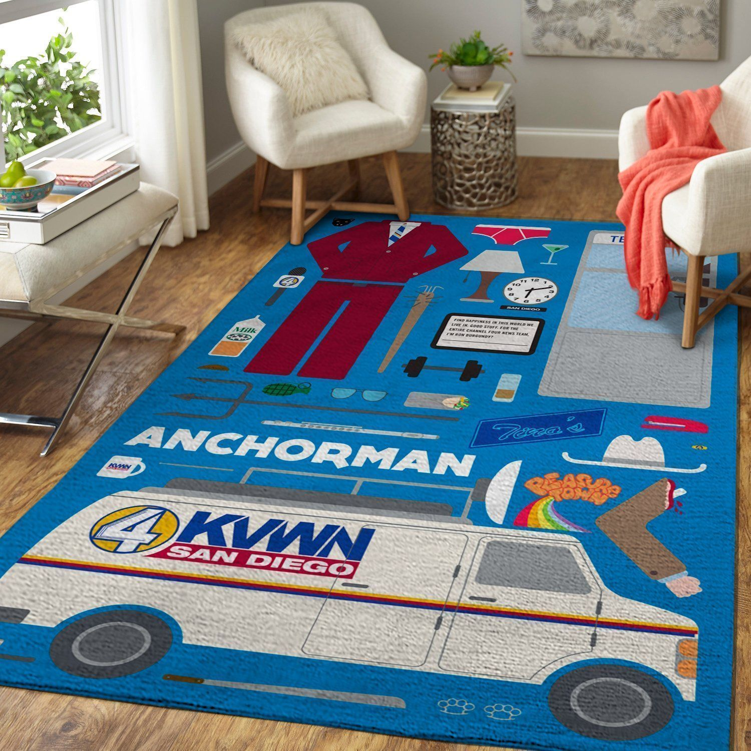 Anchorman Area Rugs, Movie Living Room Carpet, Custom Floor Decor - The Legend of Ron Burgundy 2