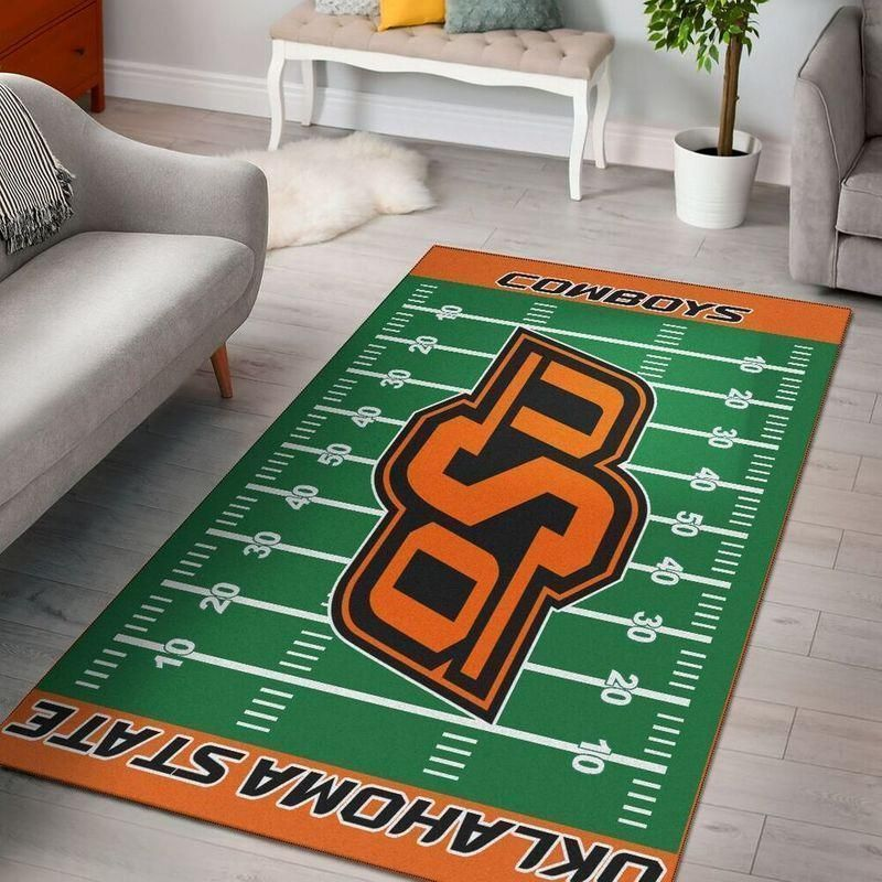 Oklahoma State Cowboys Home Field Area Rug, Football Team Logo Carpet, Living Room Rugs Floor Decor F102128