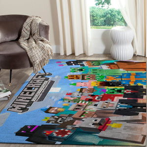 Minecraft Area Rug Video Game Carpet, Gamer Living Room Rugs, Floor Decor 10116
