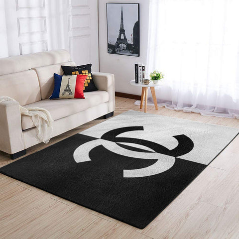 Chanel Area Rug, Black & White Hypebeast Carpet, Luxurious Fashion Brand Logo Living Room  Rugs, Floor Decor 19120917