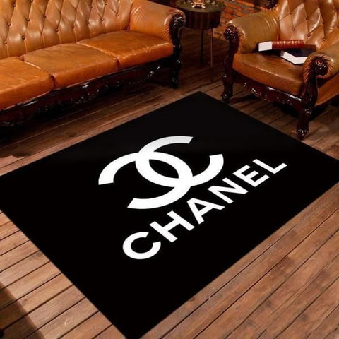 Chanel Area Rugs, Black Living Room Carpet, Fashion Brand Logo Floor Home Decor