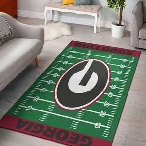 Georgia Bulldogs Area Rug, Football Team Logo Carpet, Living Room Rugs Floor Decor F10214