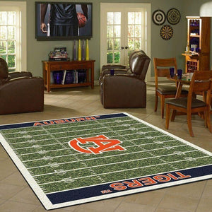 Auburn Tigers Home Field Area Rug, Football Team Logo Carpet, Living Room Rugs Floor Decor F102154