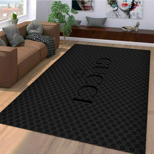 Dark Gucci Area Rug Hypebeast Carpet, Luxurious Fashion Brand Logo Living Room  Rugs, Floor Decor 071111