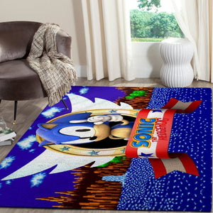 Sonic the Hedgehog Area Rug / Gaming Carpet, Gamer Living Room Rugs, Floor Decor 10116