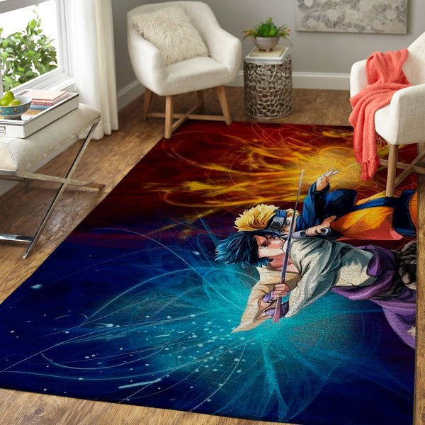 Naruto vs Sasuke Area Rugs, Anime, Manga Living Room Carpet, Custom Floor Decor
