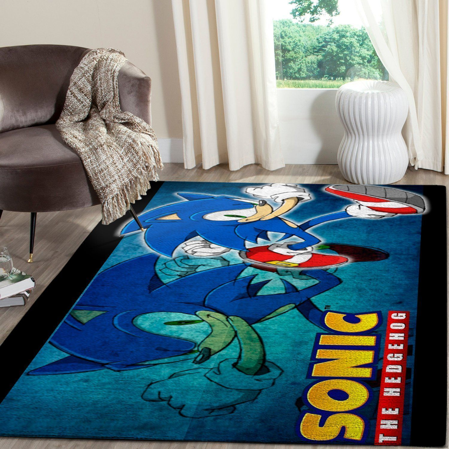 Sonic the Hedgehog Area Rug / Gaming Carpet, Gamer Living Room Rugs, Floor Decor 101113