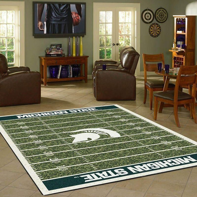 Michigan State Home Field Area Rug, Football Team Logo Carpet, Living Room Rugs Floor Decor F102176