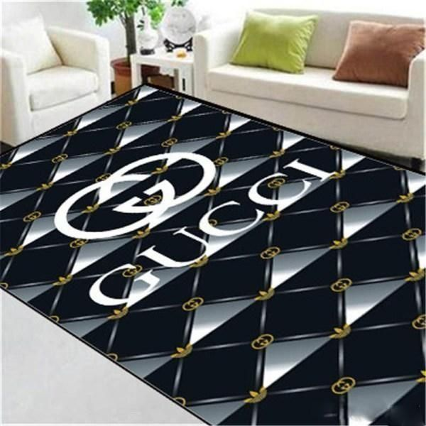 Gucci Area Rug, Dark Hypebeast Carpet, Luxurious Fashion Brand Logo Living Room  Rugs, Floor Decor 071125