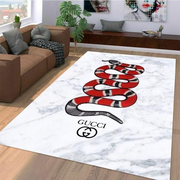 Gucci Area Rug, Red Snake Hypebeast Carpet, Luxurious Fashion Brand Logo Living Room  Rugs, Floor Decor 07115