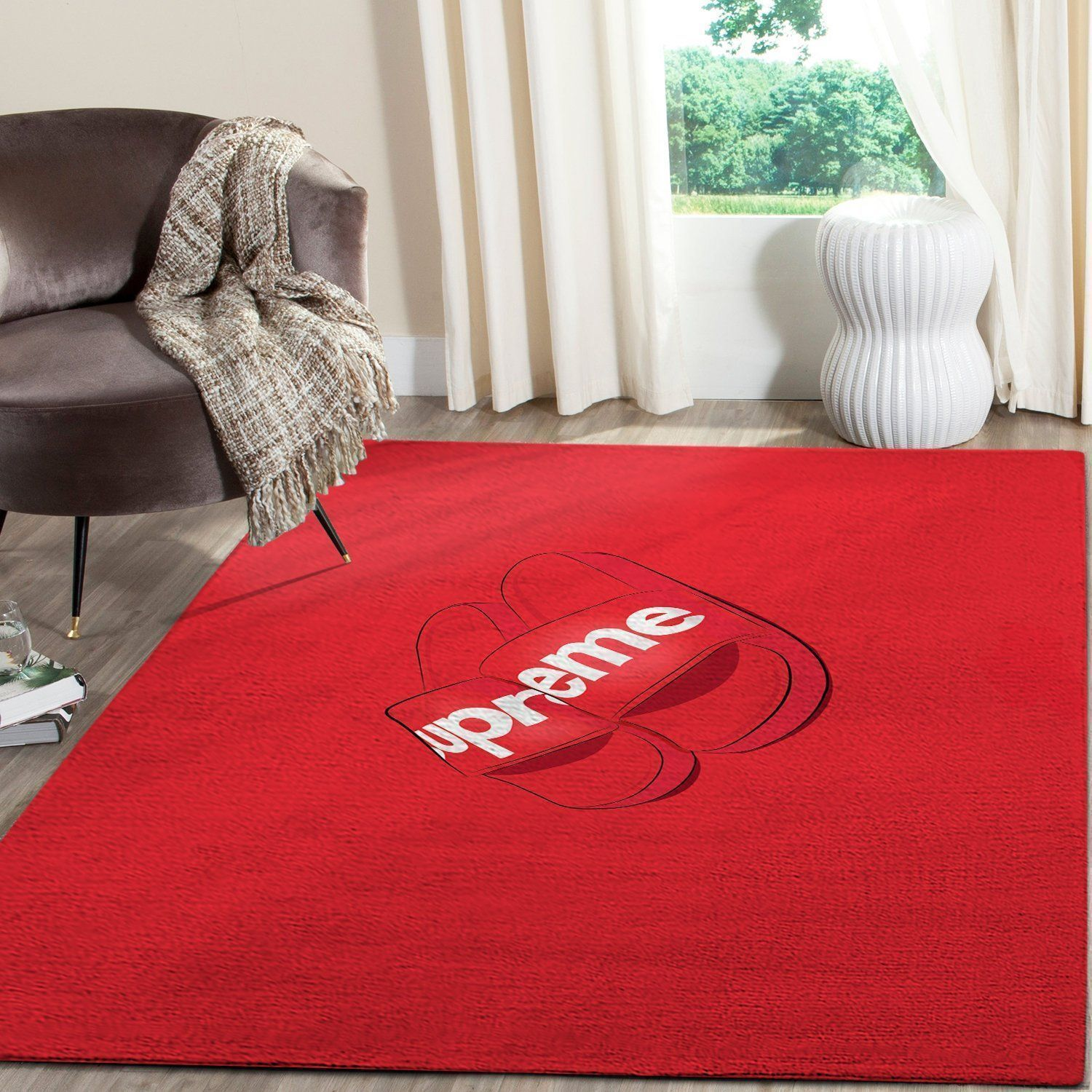 Supreme Area Rug, Red Hypebeast Carpet, Luxurious Fashion Brand Logo Living Room  Rugs, Floor Decor 081127