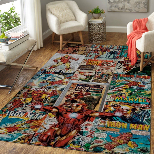 Iron Man Area Rugs / Marvel Superhero Movie Living Room Carpet, Custom Floor Decor 07