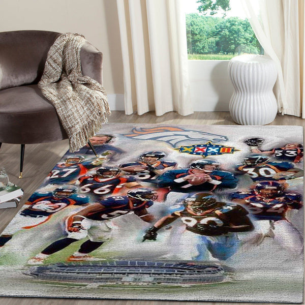 Denver Broncos Team Area Rugs NFL Football Living Room Carpet Team Logo Custom Floor Home Decor