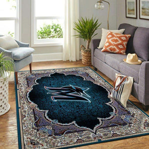 Miami Marlins Area Rug, MLB Baseball Team Logo Carpet, Living Room Rugs Floor Decor 2004046