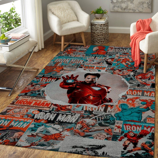 Iron Man Area Rugs / Marvel Superhero Movie Living Room Carpet, Custom Floor Decor