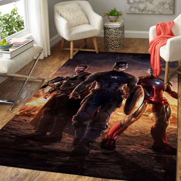 Thor, Captain America & Iron Man Area Rugs / Marvel Superhero Movie Living Room Carpet, Custom Floor Decor