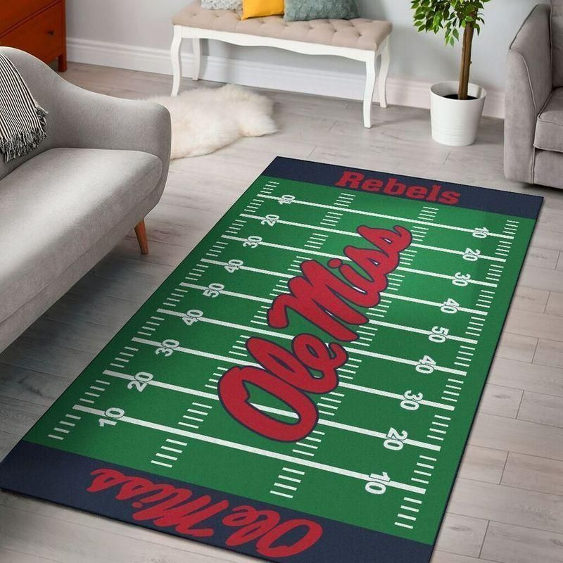 Ole Miss Rebels Home Field Area Rug, Football Team Logo Carpet, Living Room Rugs Floor Decor F102133
