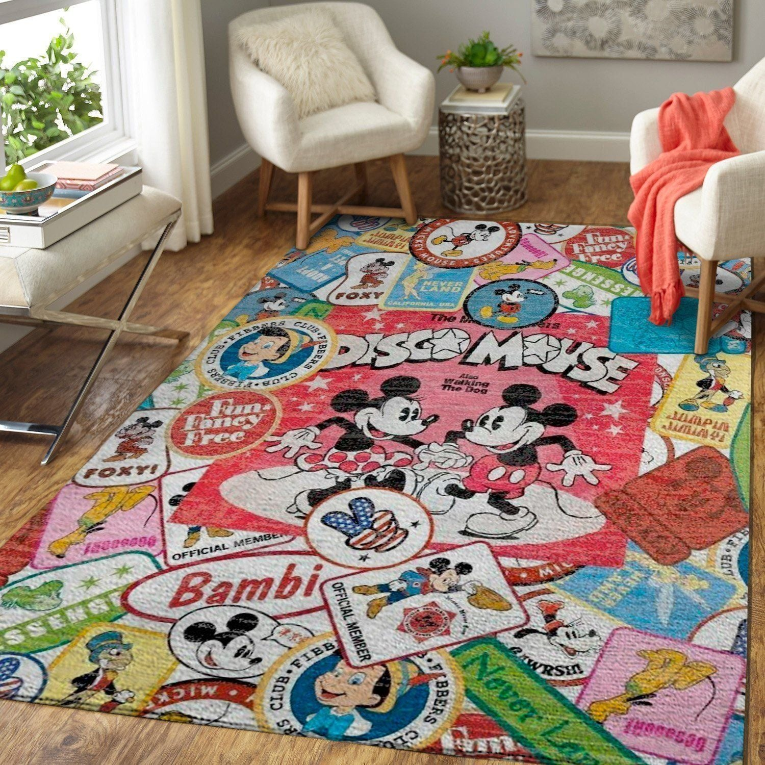 Mickey Mouse Area Rugs, Disney Movie Living Room Carpet, Custom Floor Decor - Disco Mouse 1910213