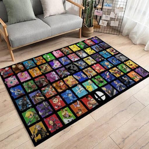 Super Smash Bros. Area Rug Nintendo Video Game Carpet, Gamer Living Room Rugs, Floor Decor  021153
