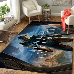 Halo Area Rug / Gaming Carpet, Gamer Living Room Rugs, Floor Decor 08114