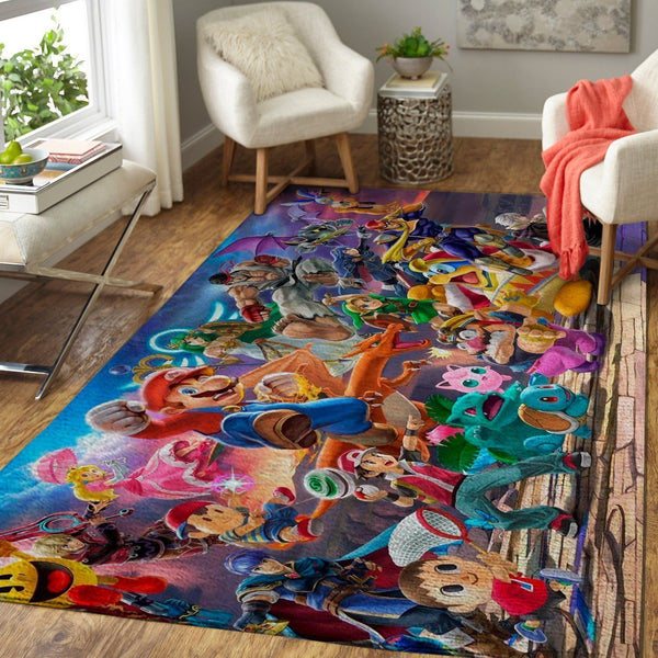 Super Smash Bros. Characters Area Rug / Gaming Carpet, Gamer Living Room Rugs, Floor Decor 19091605