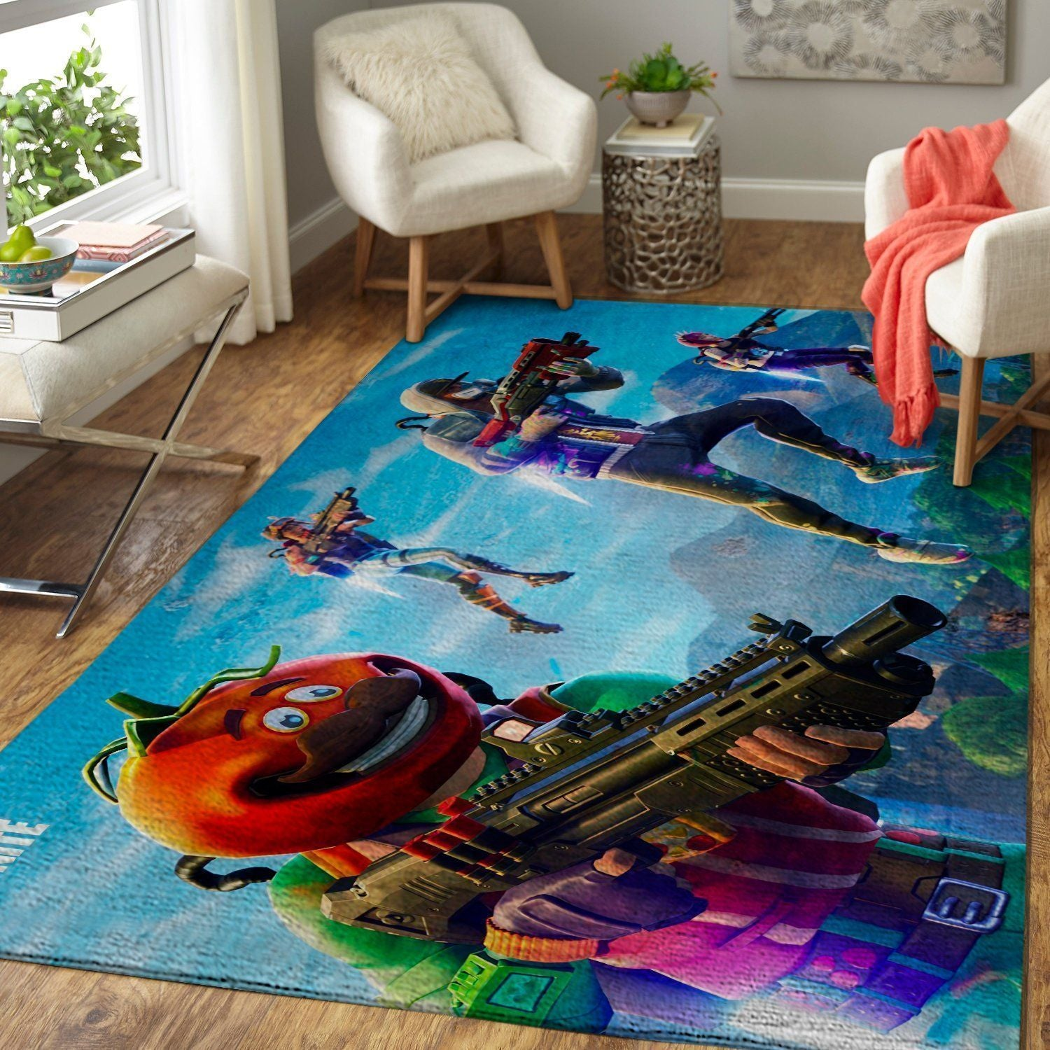 Fortnite Area Rug Video Game Carpet, Gamer Living Room Rugs, Floor Decor F251015