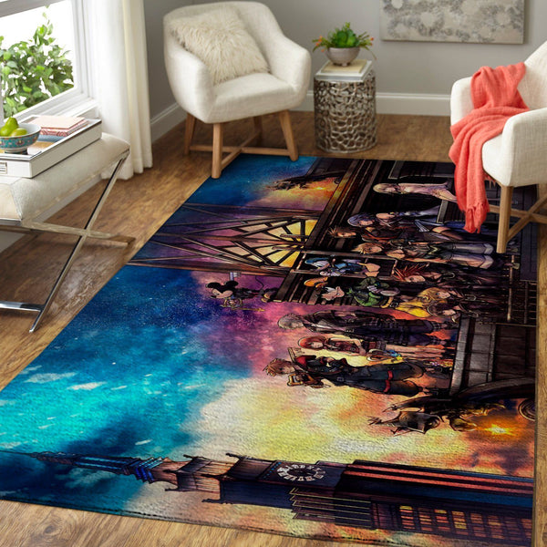 Kingdom Hearts Characters Area Rug / Gaming Carpet, Gamer Living Room Rugs, Floor Decor 190916